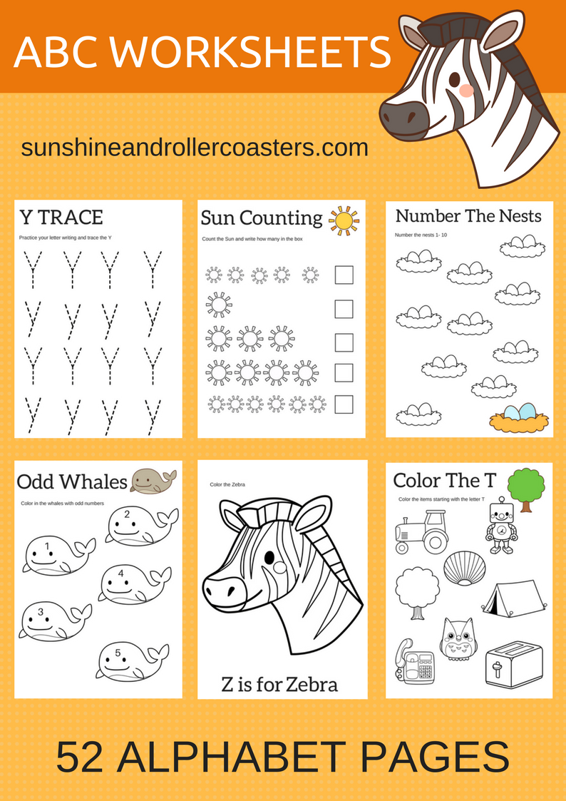 Worksheets Pre K Abc Worksheets abc worksheets for pre k and kindergarten sunshine rollercoasters take some time this summer work with your child on their abcs just 20 to 30 minutes a day could be the boost that they ne